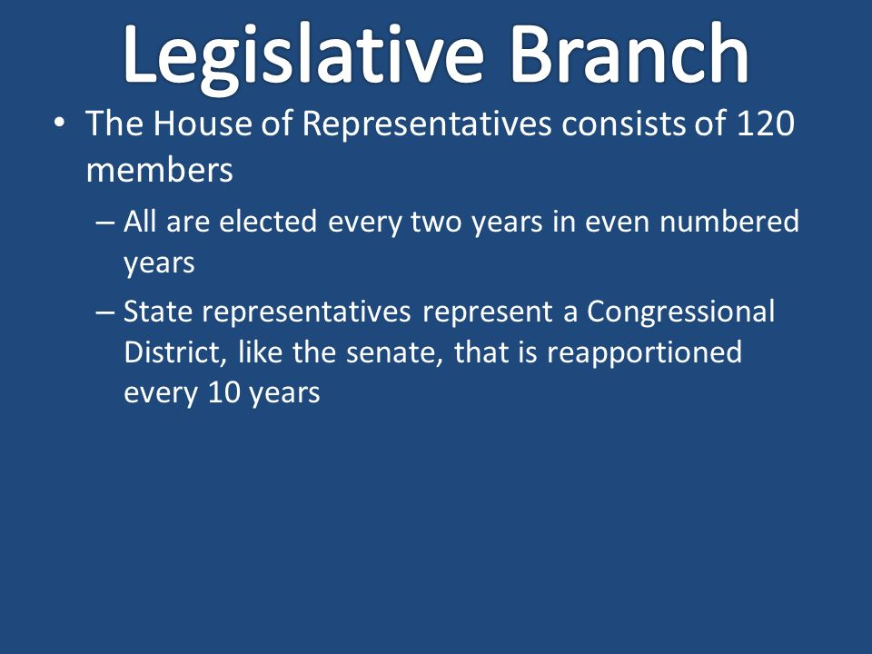 The House of Representatives consists of 120 members – All are elected every two years in even numbered years – State representatives represent a Congressional District, like the senate, that is reapportioned every 10 years