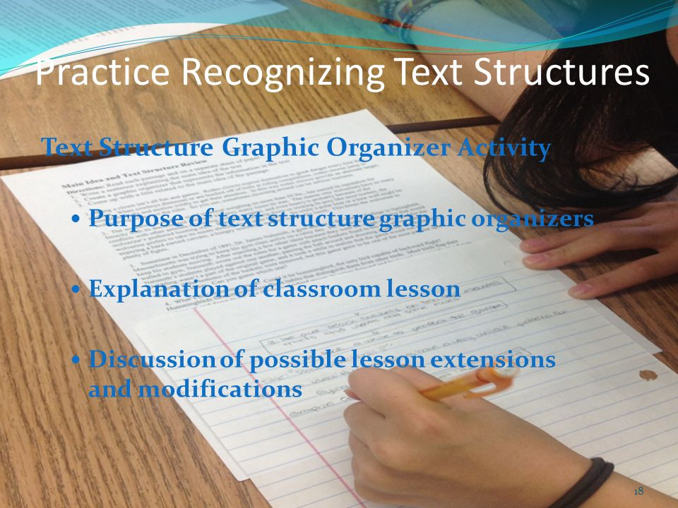 Practice Recognizing Text Structures Text Structure Graphic Organizer Activity Purpose of text structure graphic organizers Explanation of classroom l