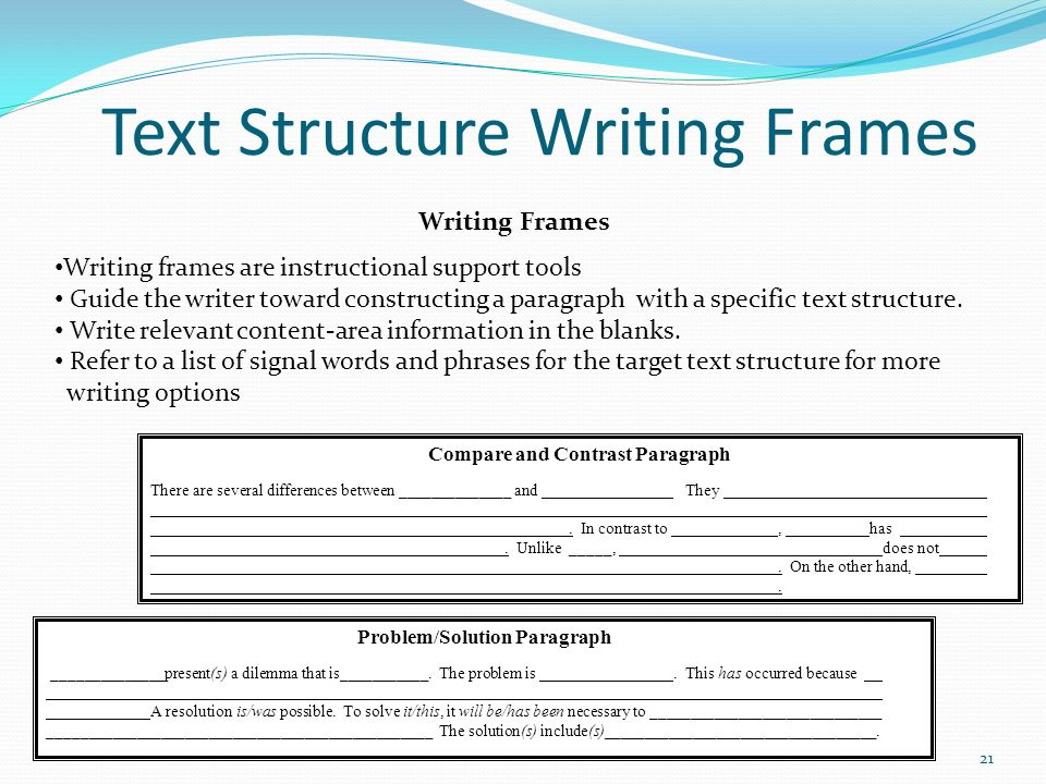 Text Structure Writing Frames Compare and Contrast Paragraph There are several differences between ______________ and They. In contrast to, has. Unlik
