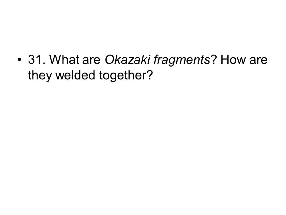 31. What are Okazaki fragments? How are they welded together?