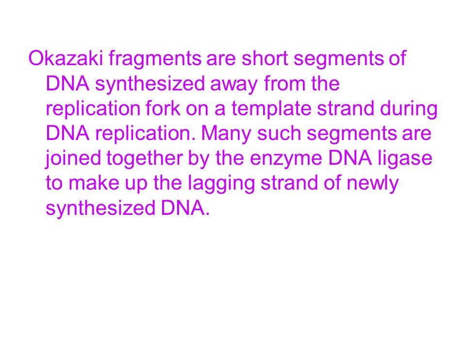 Okazaki fragments are short segments of DNA synthesized away from the replication fork on a template strand during DNA replication. Many such segments