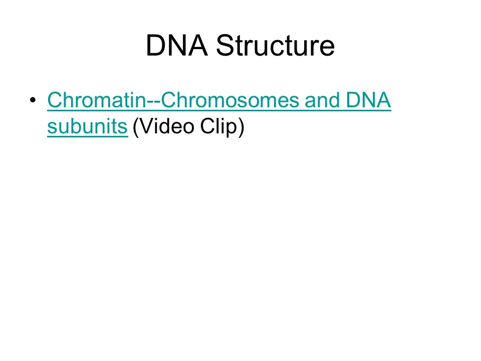 DNA Structure Chromatin--Chromosomes and DNA subunits (Video Clip)Chromatin--Chromosomes and DNA subunits