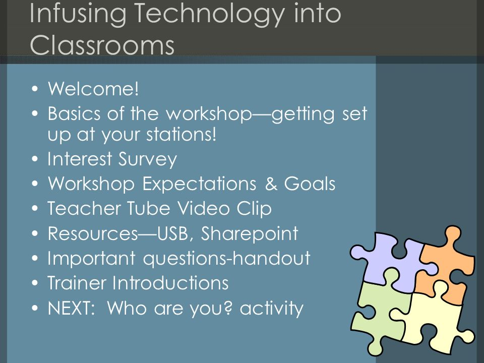 Infusing Technology into Classrooms Welcome! Basics of the workshopgetting set up at your stations! Interest Survey Workshop Expectations & Goals Teac