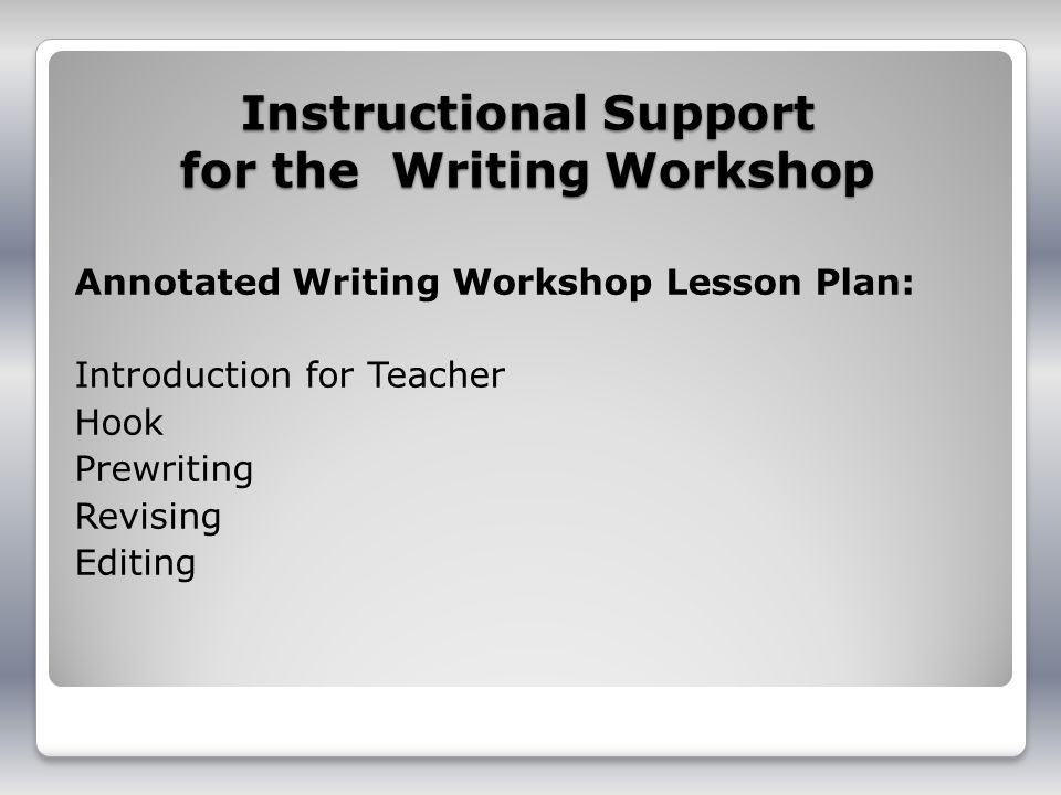 Instructional Support for the Writing Workshop Annotated Writing Workshop Lesson Plan: Introduction for Teacher Hook Prewriting Revising Editing