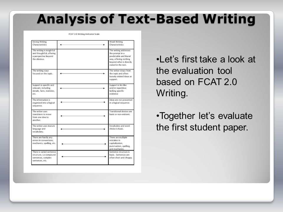 Analysis of Text-Based Writing Lets first take a look at the evaluation tool based on FCAT 2.0 Writing.