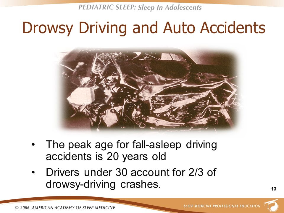 13 Drowsy Driving and Auto Accidents The peak age for fall-asleep driving accidents is 20 years old Drivers under 30 account for 2/3 of drowsy-driving