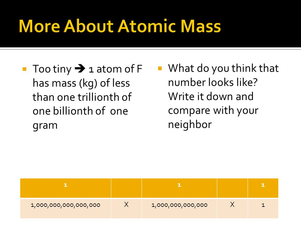 Too tiny 1 atom of F has mass (kg) of less than one trillionth of one billionth of one gram 111 1,000,000,000,000,000X1,000,000,000,000X1 What do you think that number looks like.