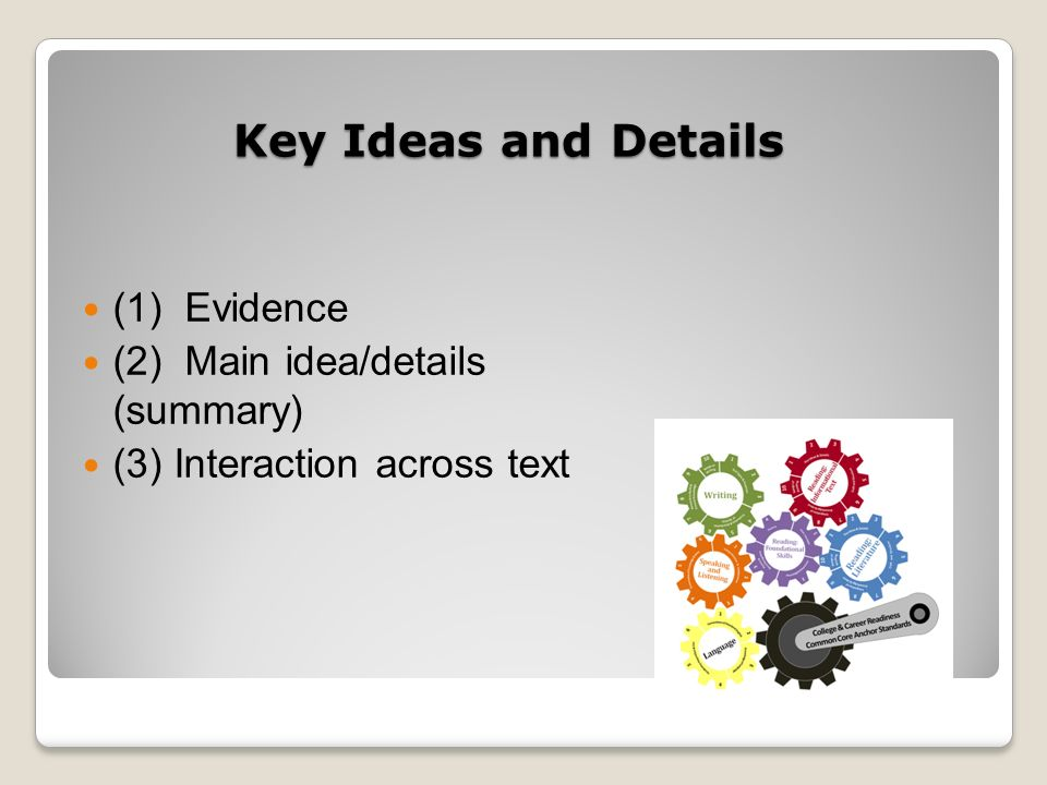 Key Ideas and Details (1) Evidence (2) Main idea/details (summary) (3) Interaction across text