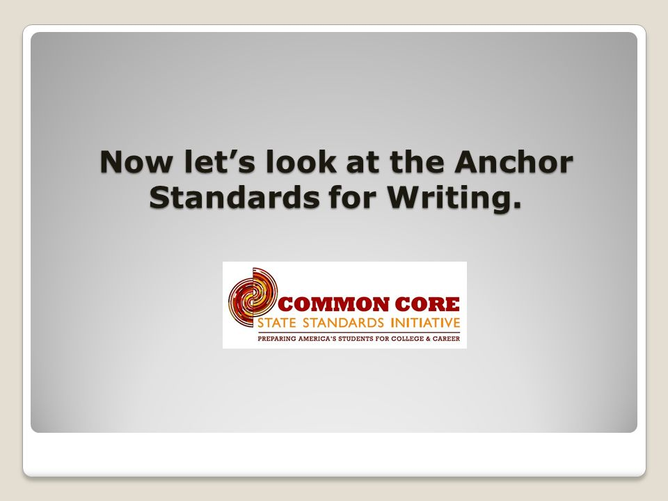 Now lets look at the Anchor Standards for Writing.