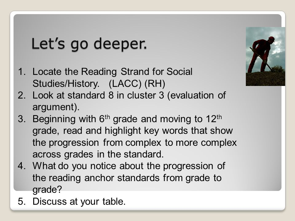 Lets go deeper. 1.Locate the Reading Strand for Social Studies/History.