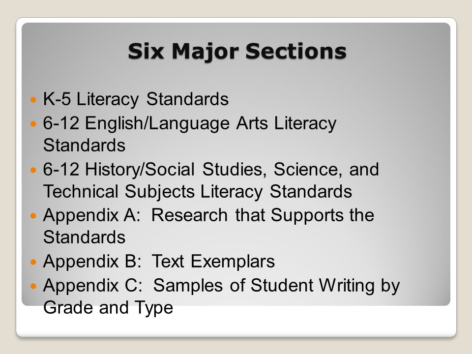 Six Major Sections K-5 Literacy Standards 6-12 English/Language Arts Literacy Standards 6-12 History/Social Studies, Science, and Technical Subjects L