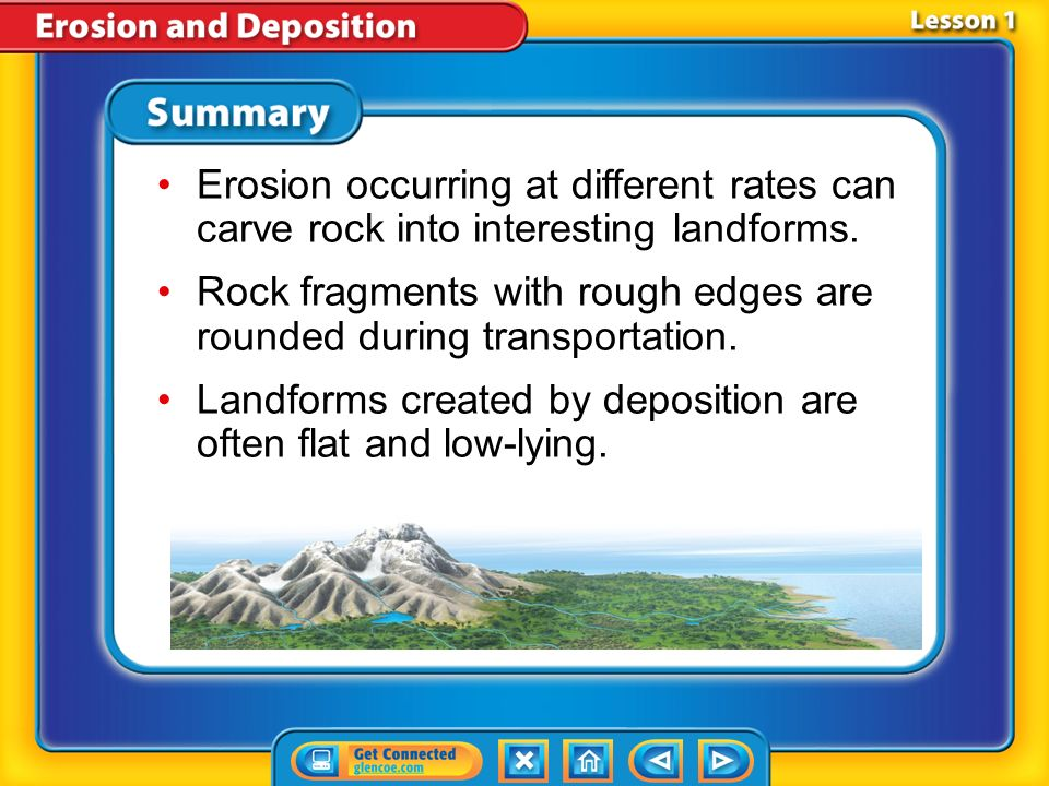 Lesson 1-3 Interpreting Landforms (cont.) What features suggest whether erosion or deposition created a landform? Deposition along a riverbed occurs w