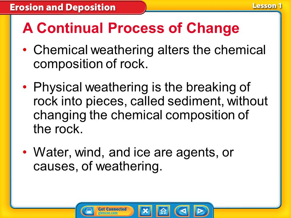 Lesson 1-2 The breakdown of rockweathering is one type of destructive process that changes Earths surface.