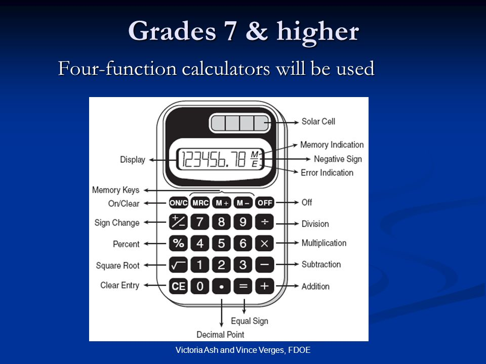 Victoria Ash and Vince Verges, FDOE Grades 7 & higher Four-function calculators will be used