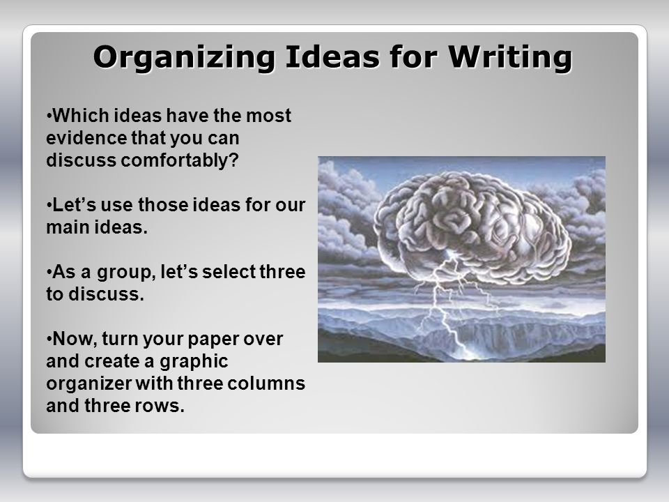 Organizing Ideas for Writing Which ideas have the most evidence that you can discuss comfortably? Lets use those ideas for our main ideas. As a group,