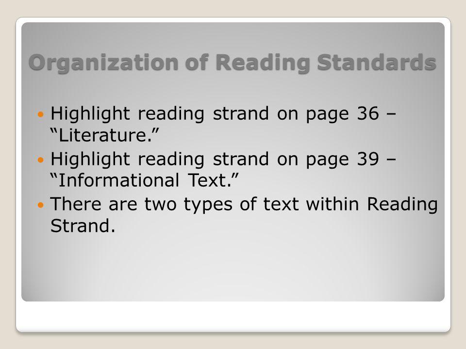 Organization of Reading Standards Highlight reading strand on page 36 – Literature. Highlight reading strand on page 39 – Informational Text. There ar