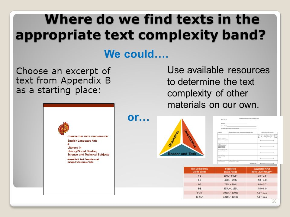 Where do we find texts in the appropriate text complexity band? Choose an excerpt of text from Appendix B as a starting place: 26 We could…. or… Use a