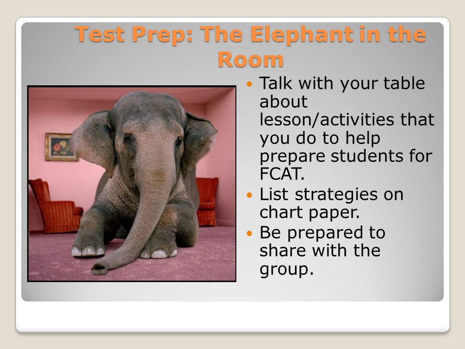 Test Prep: The Elephant in the Room Talk with your table about lesson/activities that you do to help prepare students for FCAT.