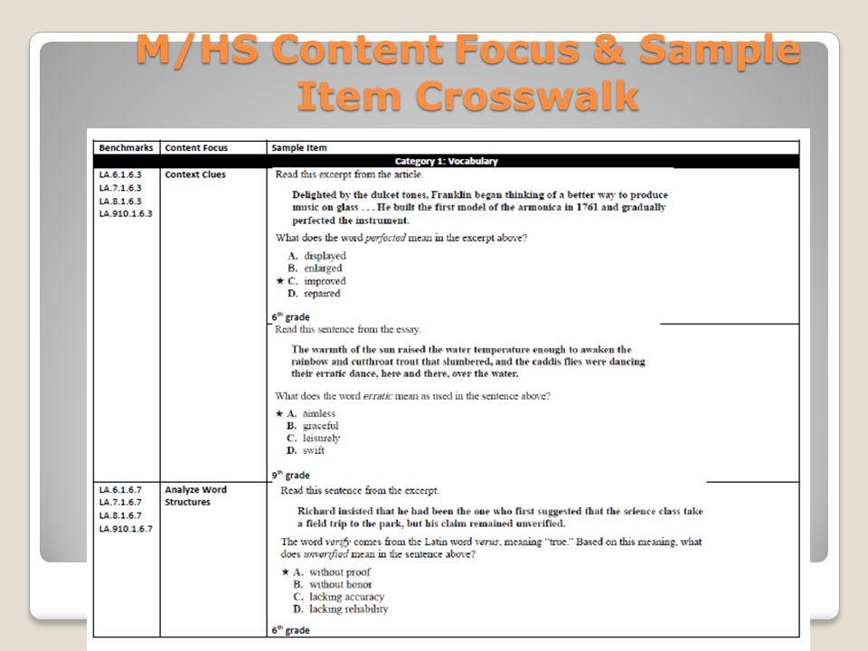 M/HS Content Focus & Sample Item Crosswalk
