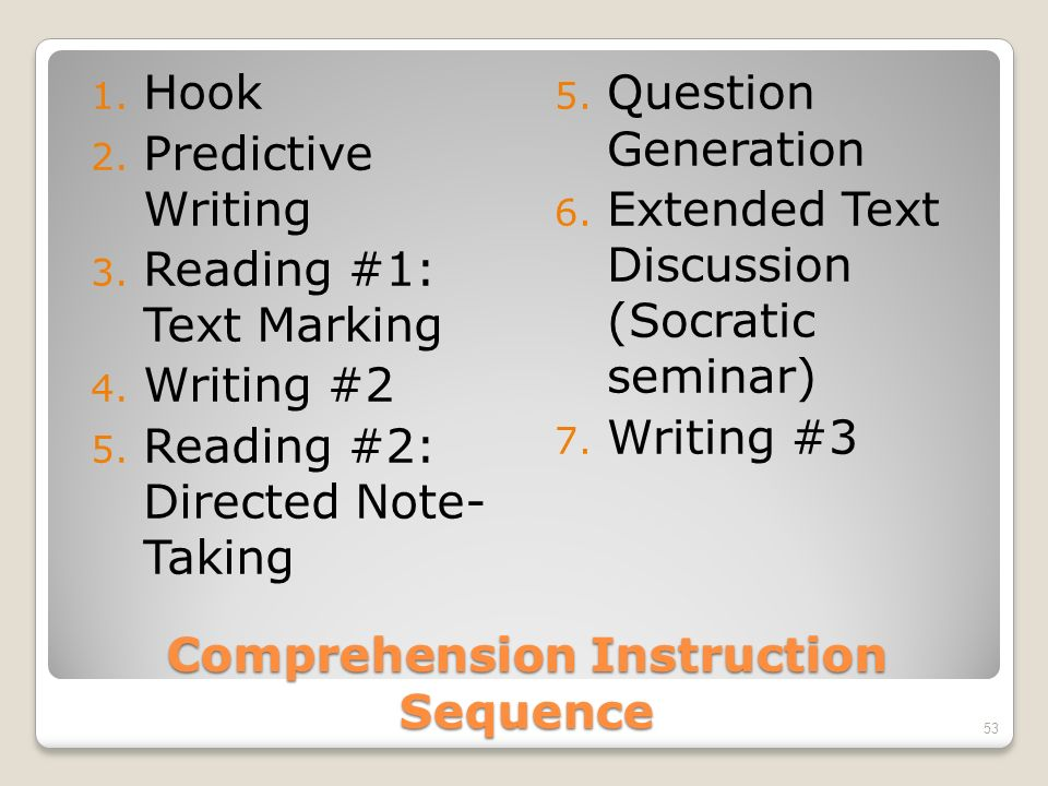 Comprehension Instruction Sequence 1. Hook 2. Predictive Writing 3.