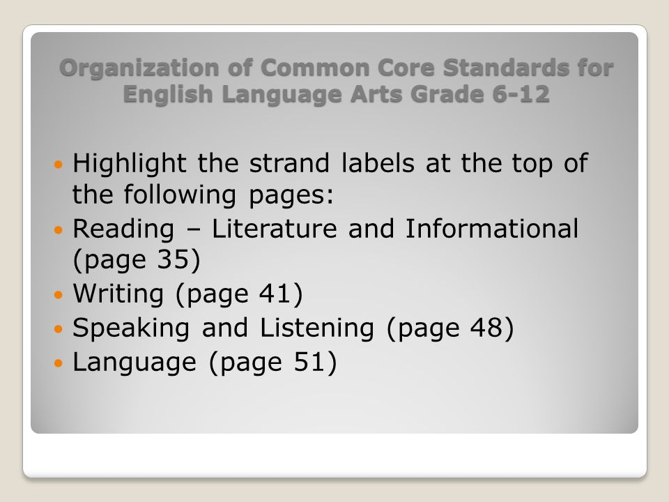 Organization of Common Core Standards for English Language Arts Grade 6-12 Highlight the strand labels at the top of the following pages: Reading – Li