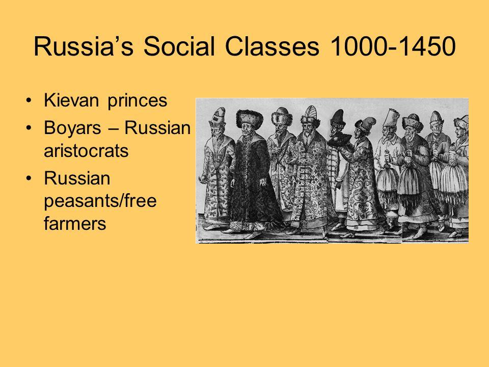 Russias Social Classes 1000-1450 Kievan princes Boyars – Russian aristocrats Russian peasants/free farmers