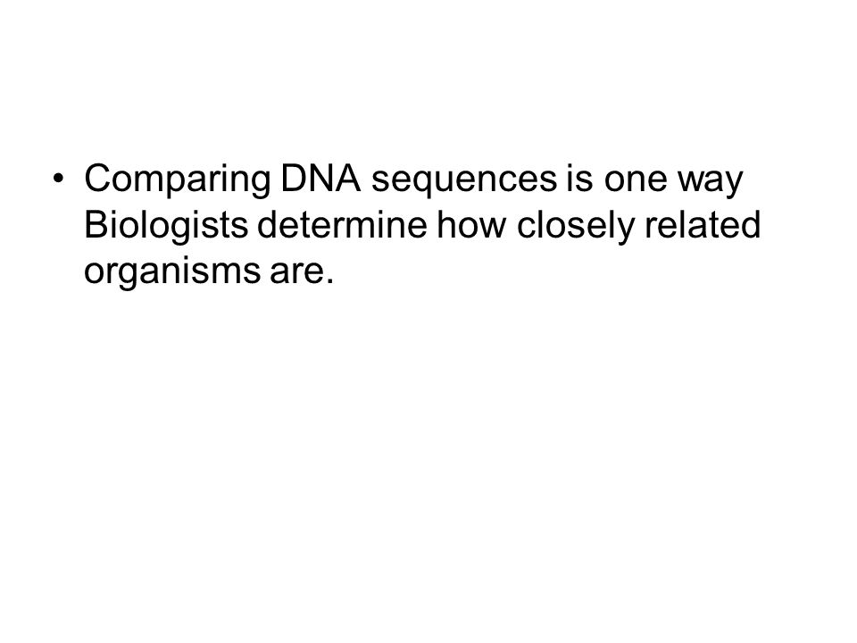 Comparing DNA sequences is one way Biologists determine how closely related organisms are.