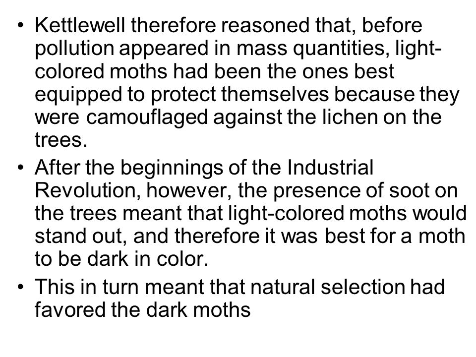 Kettlewell therefore reasoned that, before pollution appeared in mass quantities, light- colored moths had been the ones best equipped to protect them