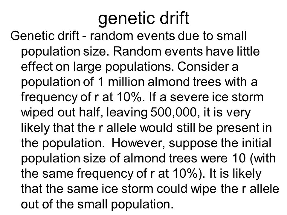 genetic drift Genetic drift - random events due to small population size. Random events have little effect on large populations. Consider a population