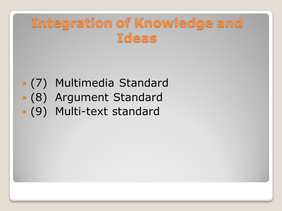 Integration of Knowledge and Ideas (7) Multimedia Standard (8) Argument Standard (9) Multi-text standard