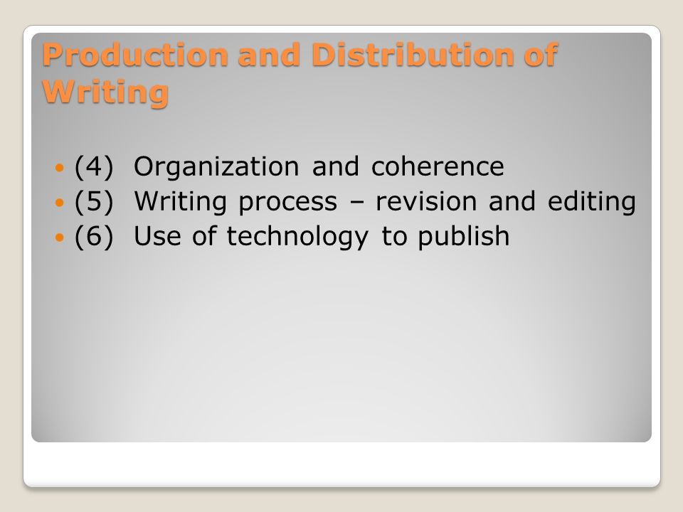 Production and Distribution of Writing (4) Organization and coherence (5) Writing process – revision and editing (6) Use of technology to publish