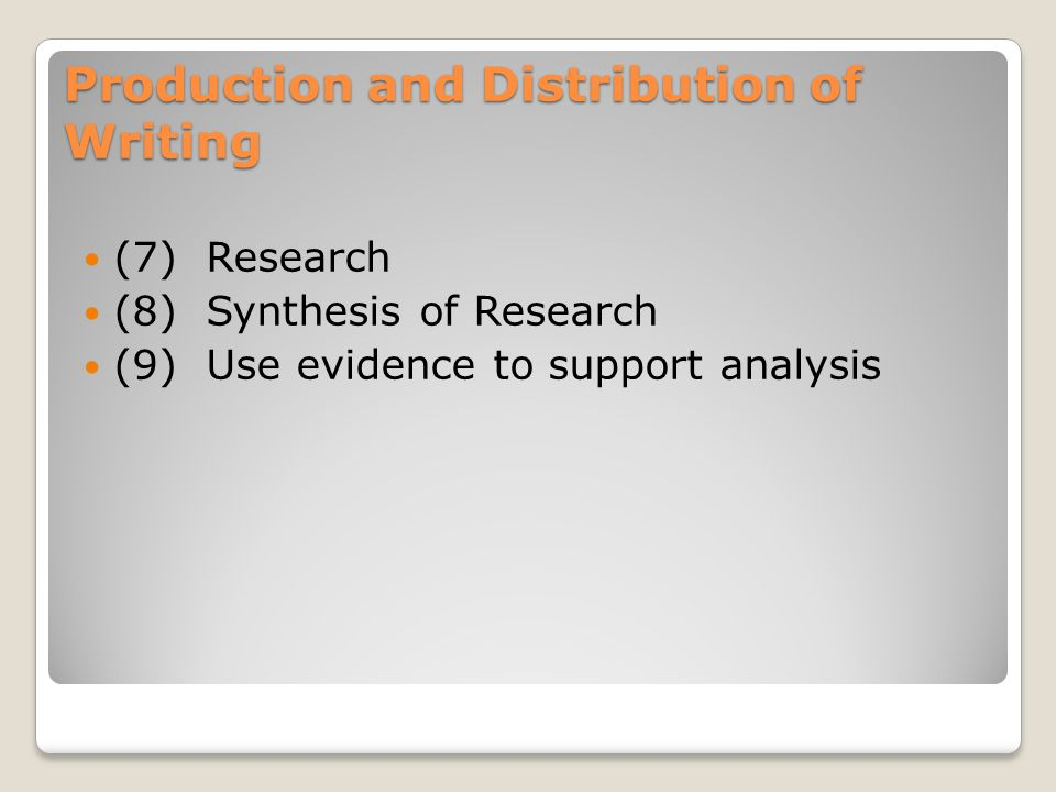 Production and Distribution of Writing (7) Research (8) Synthesis of Research (9) Use evidence to support analysis