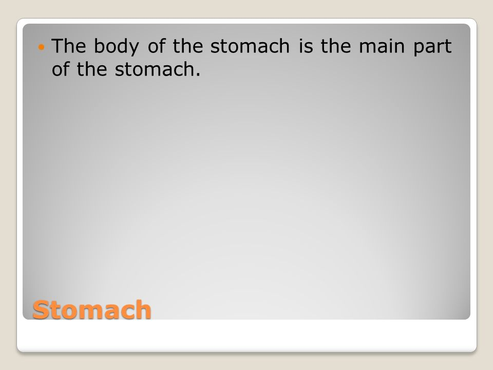 Stomach The body of the stomach is the main part of the stomach.