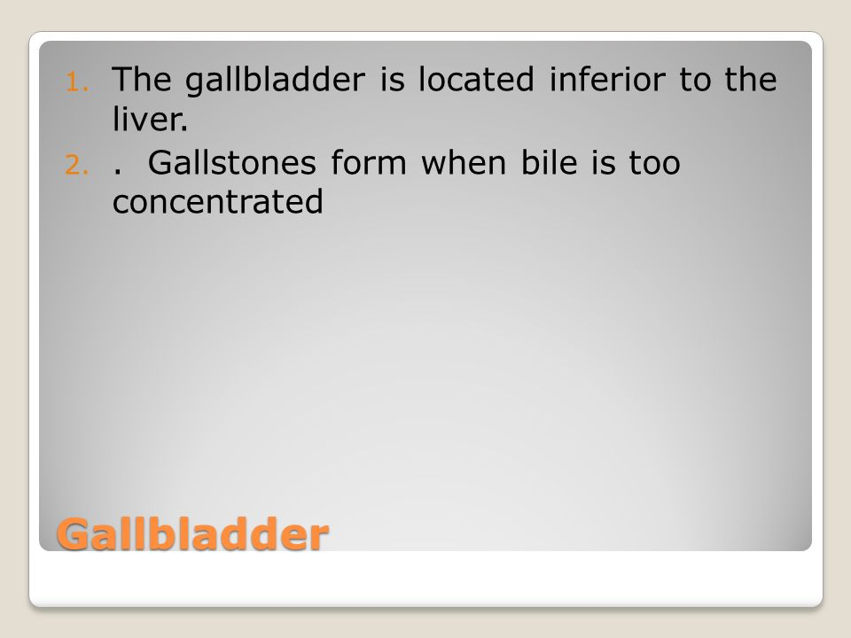 Gallbladder 1.The gallbladder is located inferior to the liver.