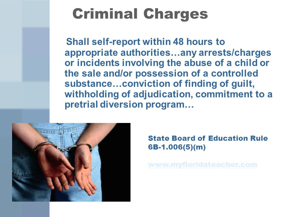 Criminal Charges Shall self-report within 48 hours to appropriate authorities…any arrests/charges or incidents involving the abuse of a child or the s