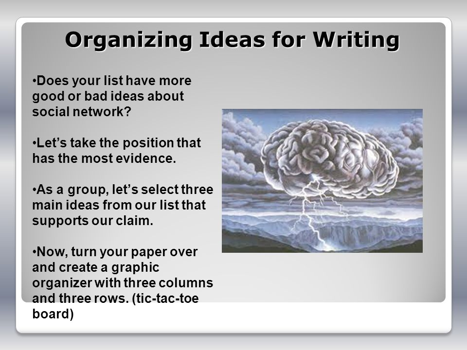 Organizing Ideas for Writing Does your list have more good or bad ideas about social network.