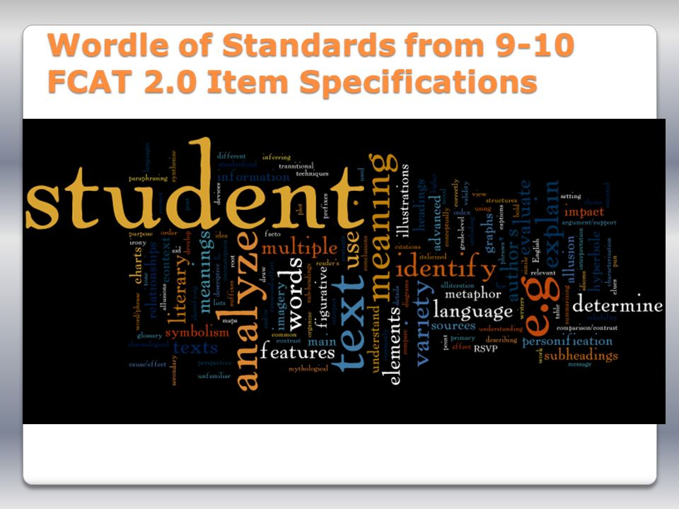 Wordle of Standards from 9-10 FCAT 2.0 Item Specifications