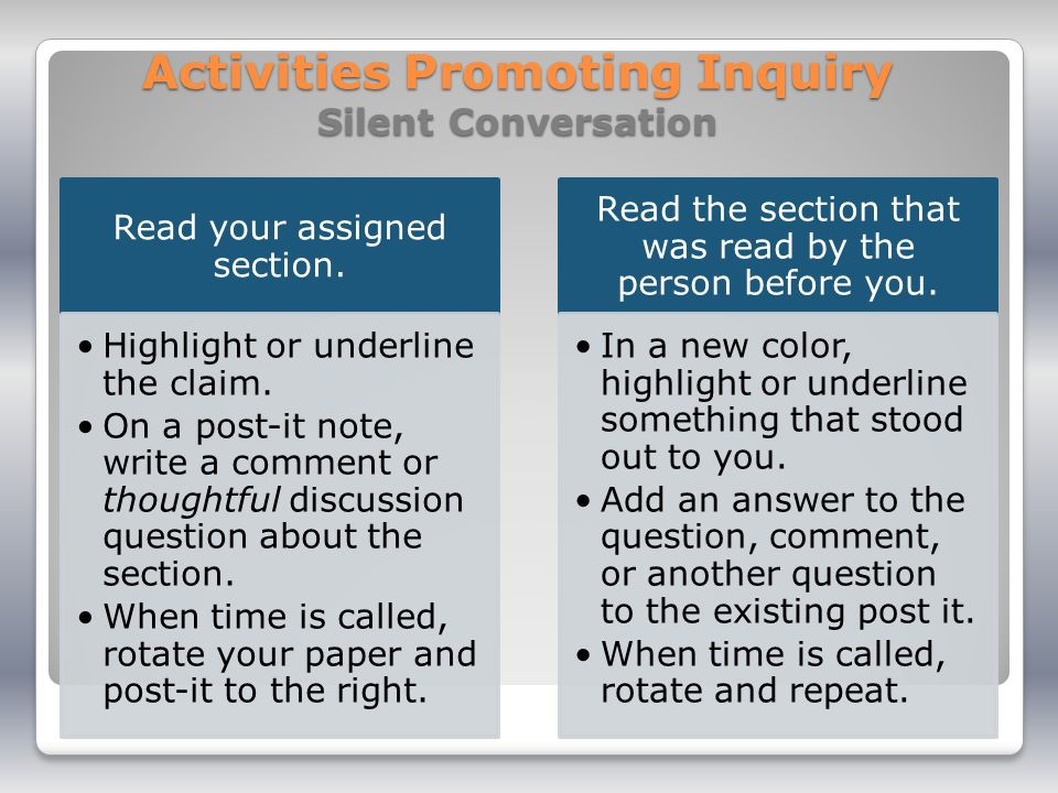 Activities Promoting Inquiry Silent Conversation Read your assigned section.