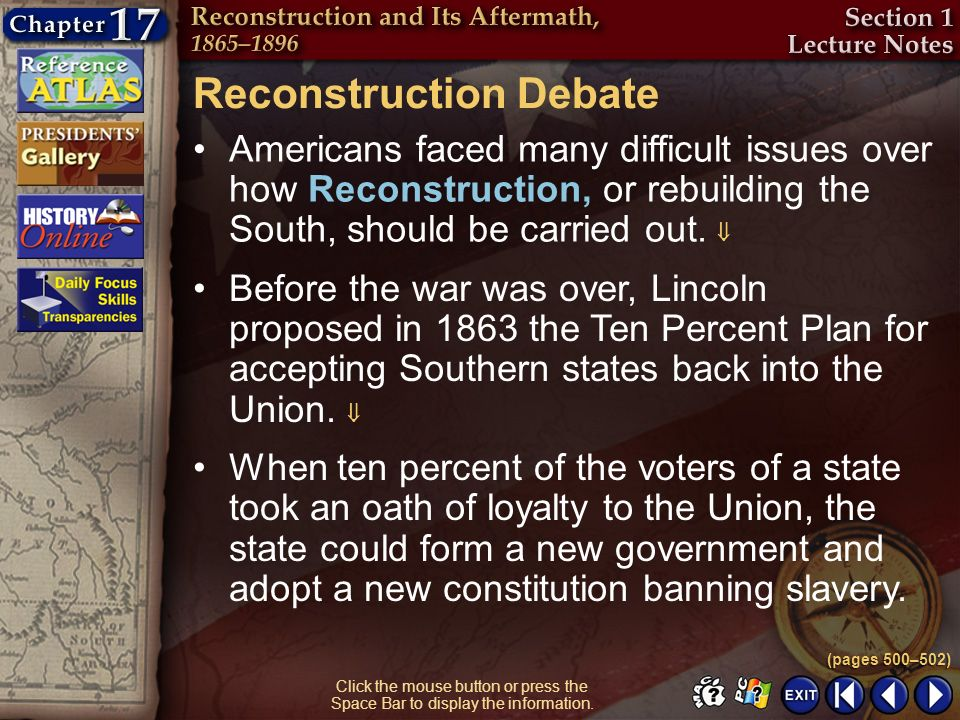 Section 1-5 Click the mouse button or press the Space Bar to display the information. Reconstruction Debate Americans faced many difficult issues over