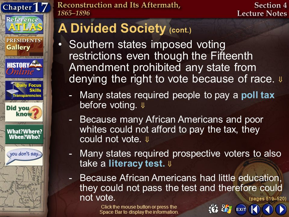 Section 4-25 Click the mouse button or press the Space Bar to display the information. Southern states imposed voting restrictions even though the Fif