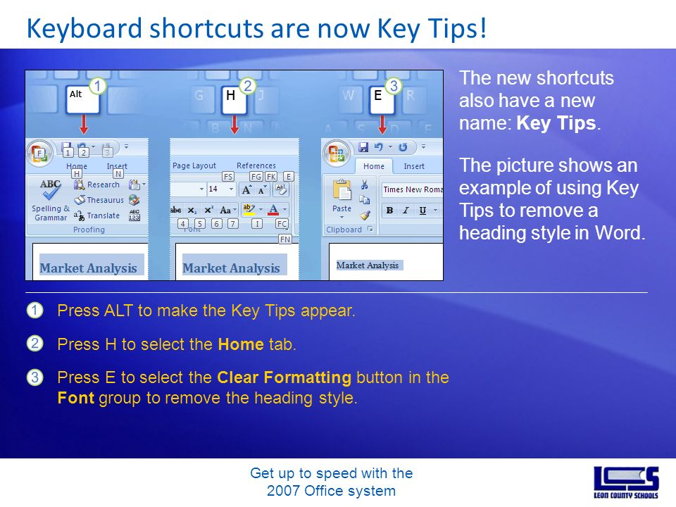 Get up to speed with the 2007 Office system Keyboard shortcuts are now Key Tips! The new shortcuts also have a new name: Key Tips. The picture shows a