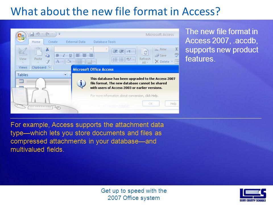 Get up to speed with the 2007 Office system What about the new file format in Access? The new file format in Access 2007,.accdb, supports new product