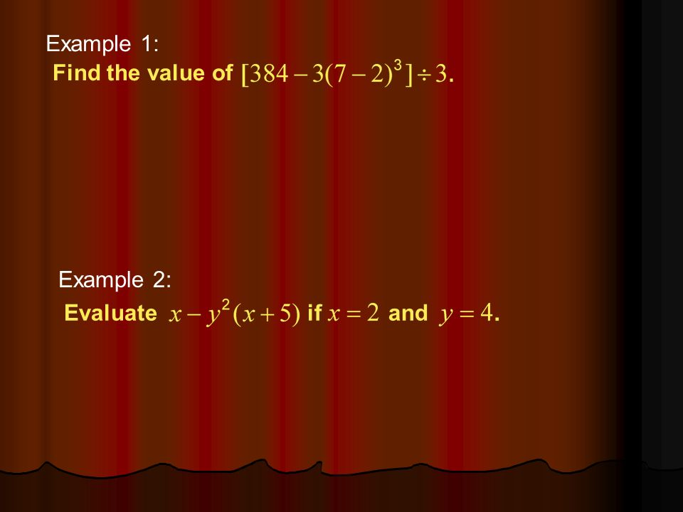Example 1-1a Find the value of Example 1: Example 2: Evaluateifand