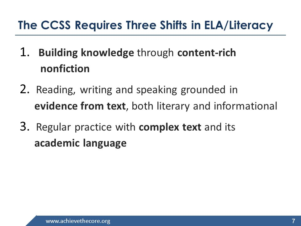 www.achievethecore.org The CCSS Requires Three Shifts in ELA/Literacy 1. Building knowledge through content-rich nonfiction 2. Reading, writing and sp