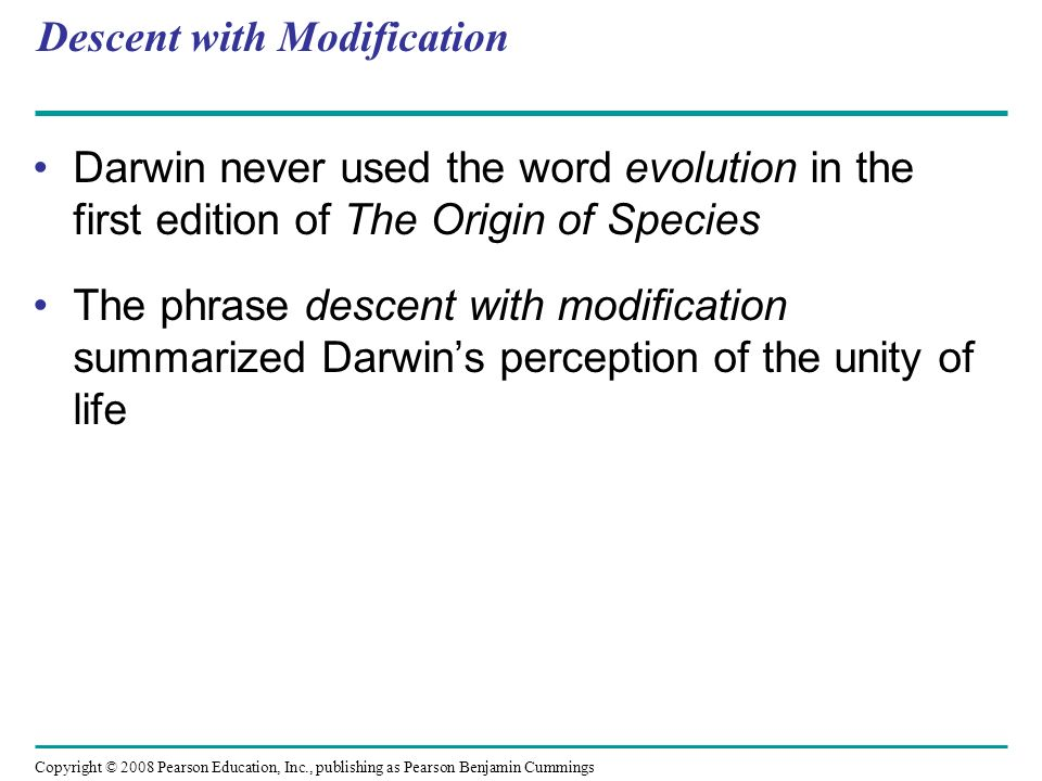 Descent with Modification Darwin never used the word evolution in the first edition of The Origin of Species The phrase descent with modification summ