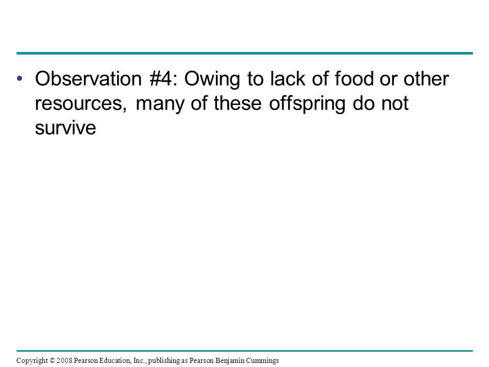 Observation #4: Owing to lack of food or other resources, many of these offspring do not survive Copyright © 2008 Pearson Education, Inc., publishing