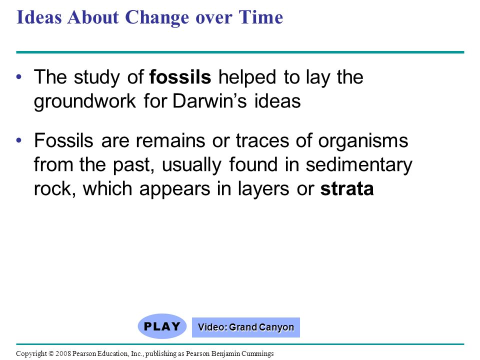Ideas About Change over Time The study of fossils helped to lay the groundwork for Darwins ideas Fossils are remains or traces of organisms from the p