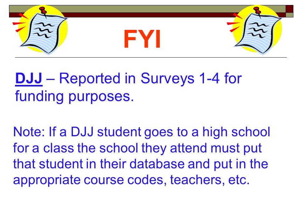 DJJ – Reported in Surveys 1-4 for funding purposes.