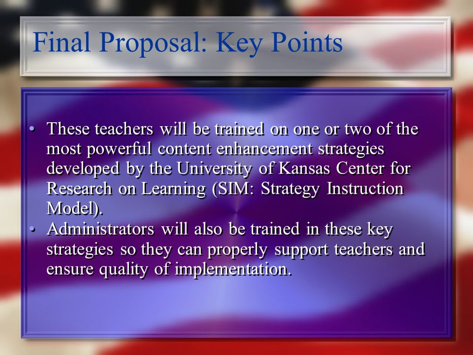 Final Proposal: Key Points These intensive intervention programs will be implemented during a daily instructional block of at least 90 minutes in duration.