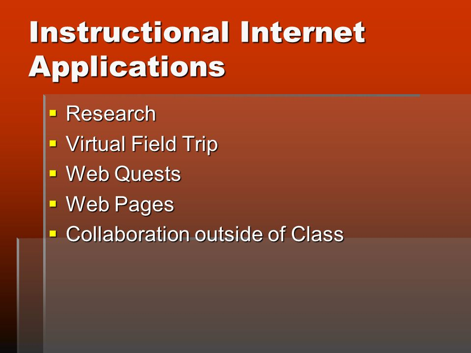 Instructional Internet Applications Research Research Virtual Field Trip Virtual Field Trip Web Quests Web Quests Web Pages Web Pages Collaboration outside of Class Collaboration outside of Class